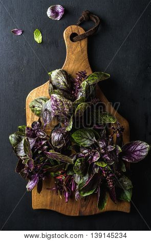 Violet basil bunch on wooden chopping board over black background, top view