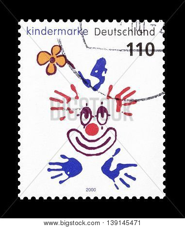 GERMANY - CIRCA 2000 : Cancelled postage stamp printed by Germany, that shows clown drawing.