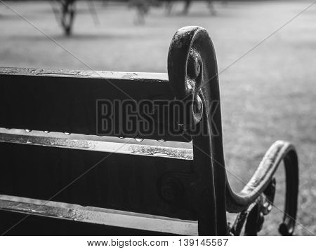 Close up of old curved steel and wooden vintage bench with water drop after rainy in blurry garden background Black and White Filter Selective Focus