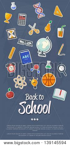 Education concept. Back to school banner. School flat vector icons. Back to school lettering. Arts and science background. School symbols. Knowledge sign. Back to school background.