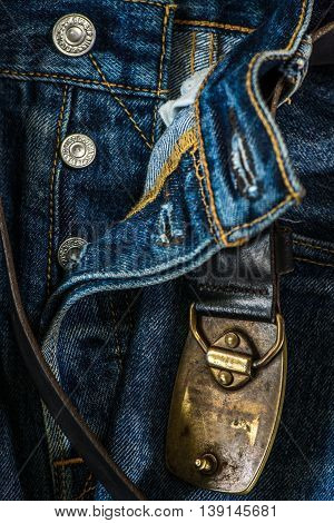 Jeans with a belt - close up background