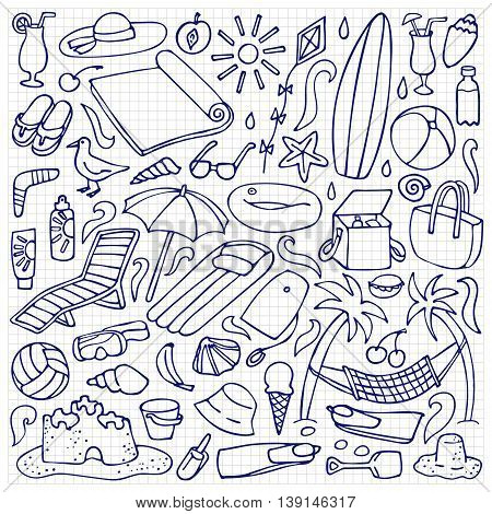 Hand drawn beach elements. Vector illustration of doodle holiday objects on squared paper