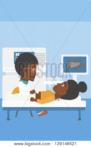An african-american young doctor examining internal organs of a female patient on the modern ultrasound equipment at medical office. Vector flat design illustration. Vertical layout.