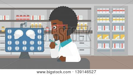 An african-american doctor looking at magnetic resonance images of the brain on a computer screen at the medical office. Vector flat design illustration. Horizontal layout.