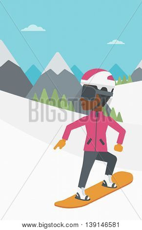 An african-american sportswoman snowboarding on the background of snow capped mountain. Woman snowboarding in the mountains. Snowboarder in action. Vector flat design illustration. Vertical layout.
