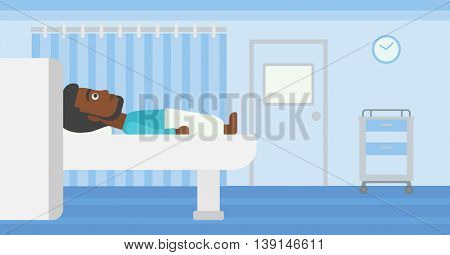 An african-american young man with the beard undergoes a magnetic resonance imaging scan test at hospital room. Vector flat design illustration. Horizontal layout.