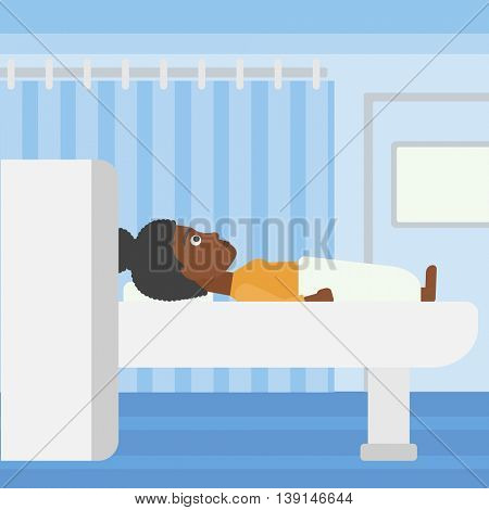An african-american woman undergoes magnetic resonance imaging scan test at hospital room. Vector flat design illustration. Square layout.