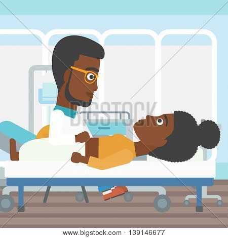 An african-american doctor touching abdomen of female patient. Woman on reception at doctor. Vector flat design illustration. Square layout.