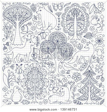 Pattern of doodle forest animals and plants. Vector illustration of childish woodland on squared paper
