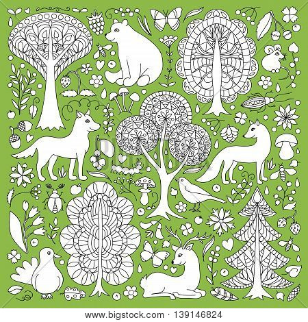 Pattern of doodle forest animals and plants. Vector illustration of childish woodland