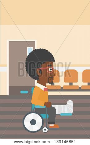 An african-american man with broken leg in plaster sitting in wheelchair in the hospital corridor. Vector flat design illustration. Vertical layout.
