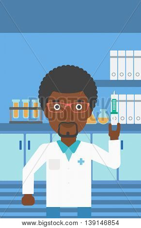 An african-american laboratory assistant with the beard holding syringe on the background of a laboratory with equipment. Vector flat design illustration. Vertical layout.