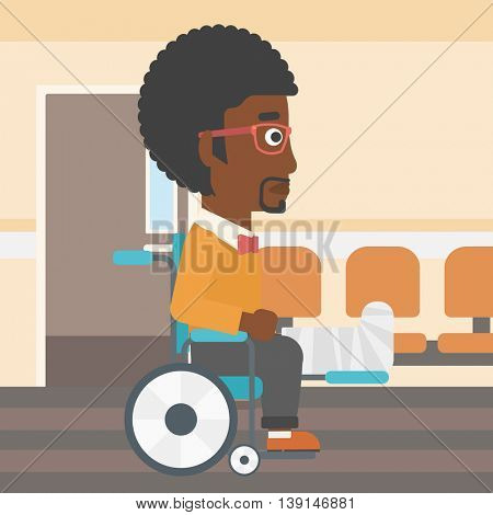 An african-american man with broken leg in plaster sitting in wheelchair in the hospital corridor. Vector flat design illustration. Square layout.