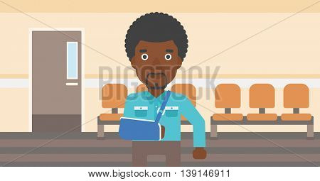 An african-american man with broken right arm in brace standing in the hospital corridor. Vector flat design illustration. Horizontal layout.