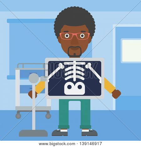 An african-american man with x ray screen showing his skeleton in examination room. Vector flat design illustration. Square layout.