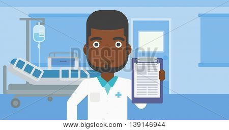 An african-american doctor with the beard showing clipboard with prescription while standing on the background of hospital room. Vector flat design illustration. Horizontal layout.