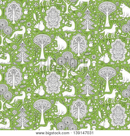 Seamless pattern of doodle forest animals and plants. Vector illustration of childish woodland