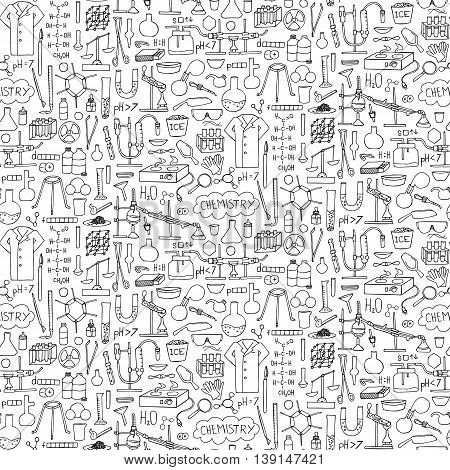 Chemistry doodle hand drawn seamless pattern. Wallpaper with science elements and objects