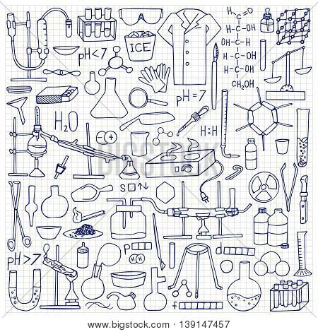 Chemistry doodle hand drawn set. Science elements and objects on squared paper