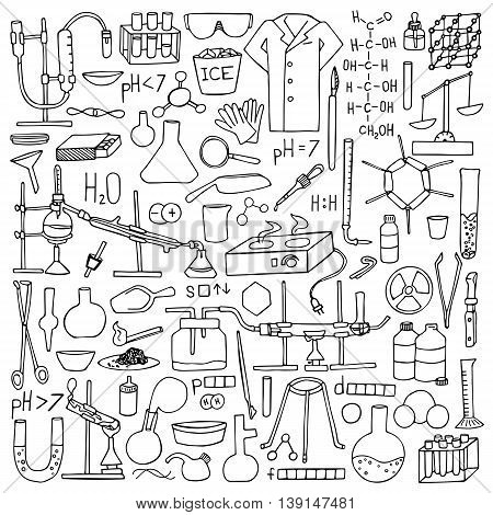 Chemistry doodle hand drawn set. Science elements and objects