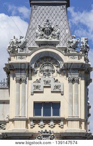 Details of historical building Port of Barcelona Port Vell Spain