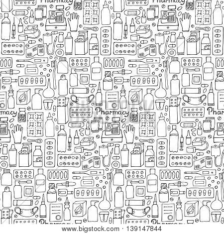 Pharmacy hand drawn seamless pattern. Medicament doodle set wallpaper