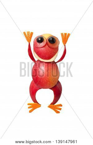 Funny apple frog with hands up on isolated background