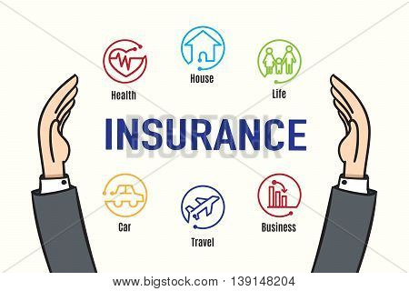 Vector : Hand protect Insurance feature iconInsurance business concept.