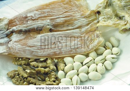 Nuts and dried squid