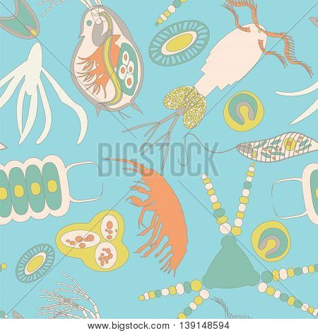 Plankton seamless pattern. Vector illustration with small organism both phytoplankton and zooplankton. Ideal for fabric textile backdrop wallpaper wrapping paper on environmental biological nature theme.
