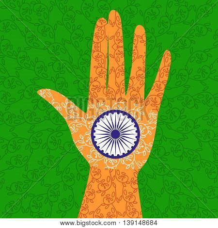 India republic independence. National holiday. Independence day celebration concept. Colors of Indian tricolor flag. Blue Ashoka Chakra. Unique symbols. Patriotic event background. Vector illustration