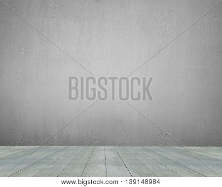 Old Wooden Floor With Concrete Wall Indoor, Background