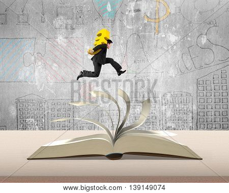 Carrying Euro Money Sign Jumping On Top Of Flipping Pages Of Open Book On Table In Office With Doodl