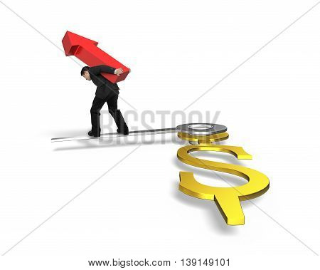 Businessman Carrying Red Arrow Walking On Clock Hands, Time Is Money Isolated In White Background, 3