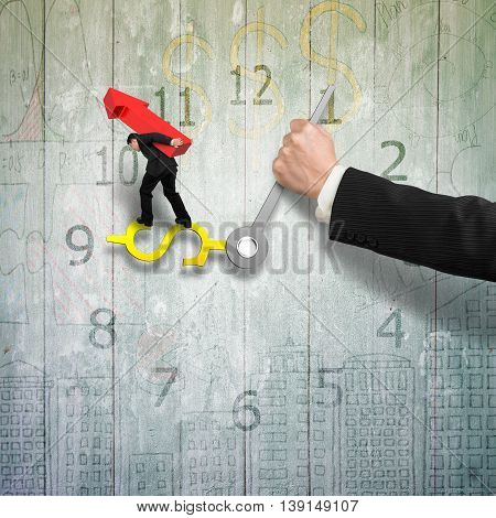 Man Carrying Red Arrow Balance On Money Sign Clock Hands With Another Holding, Old Wooden Wall, 3D I