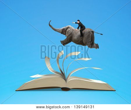 Man riding elephant flying on top flipping pages of open book isolated in blue background 3D rendering