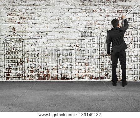 Man rear view writing on old bricks wall illustration