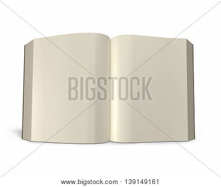 Standing Opening Book Isolated In White, 3D Rendering