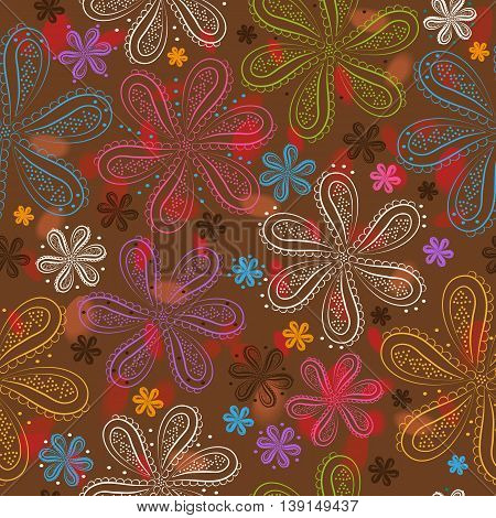 Flowers with watercolor background. Illustration. Floral seamless pattern.