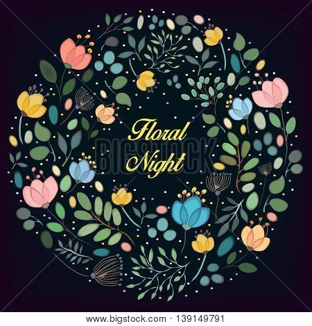Watercolor flowers with black background. Floral ring. Inscription Floral night. Place for custom text. illustration