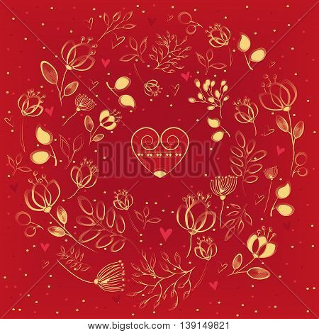 Golden floral ring. Graceful yellow flowers and plants with draw effect. Red heart with vintage yellow decor. Red background. Vintage romantic card. illustration.