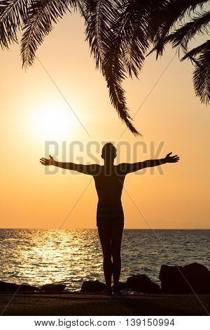 Silhouette of man raised his hands to the sky at sunset