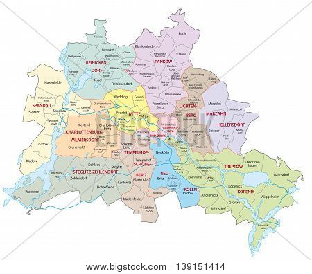berlin administrative and political vector map, Germany