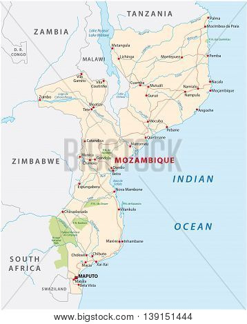 vector road map of East African State mozambique