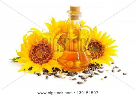 Sunflower Oil With Flowers And By Seed On White Background