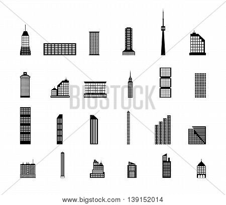 Set of various city buildings. residential and office buildings, television tower. vector illustration in flat style isolated on white background
