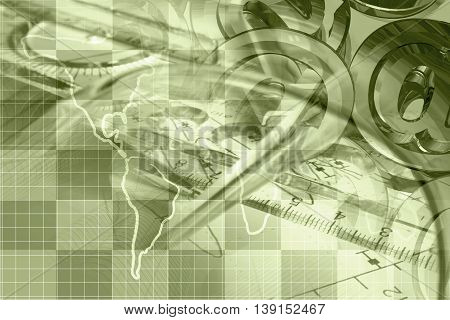 Financial background in sepia with map mail signs and graph.