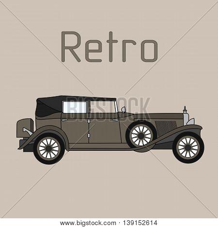Old vintage authentic retro cartoon car convertible.