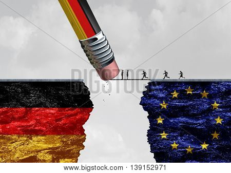 Germany border immigration control as a European refugee crisis as people in Europe running to cross a bridge that is being erased by a German flag pencil with 3D illustration elements.