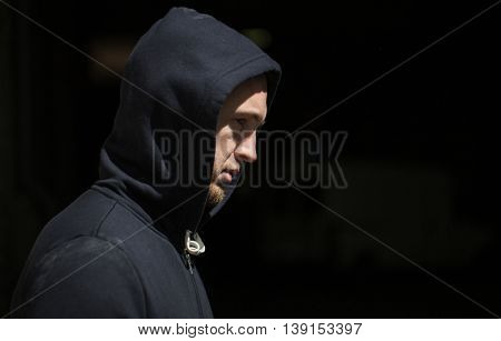 substance abuse, addiction, people and social problem concept - close up of addict man on street